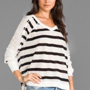 Free People distressed stripe v-neck sweater small